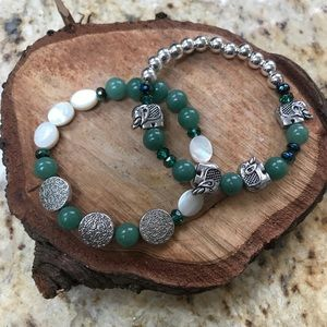 Jewelry - ♥️♥️Green Jade elephant stacker bracelets! New!